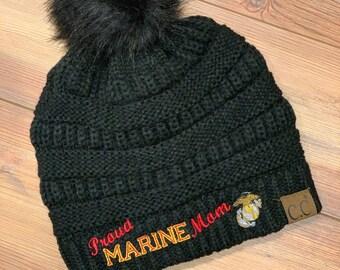 Proud USMC Marine Mom Black CC style knitted pom pom beanie winter hat 52583c50d1f1