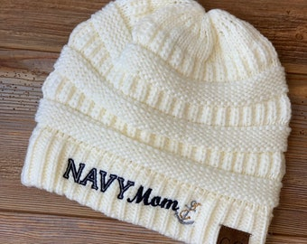 239a6e2bb11 Navy Mom CC style knitted beanie winter hat