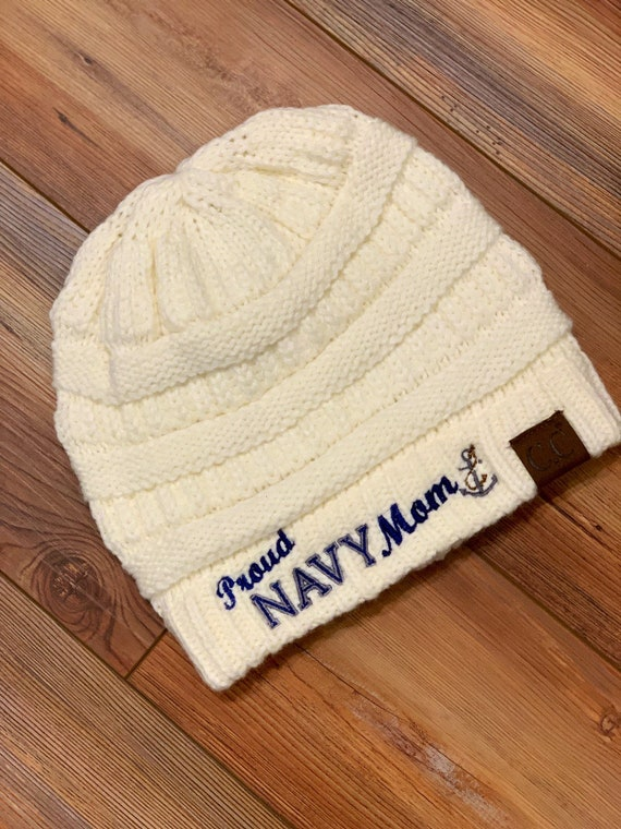 Proud Navy Mom CC style knitted beanie winter hat