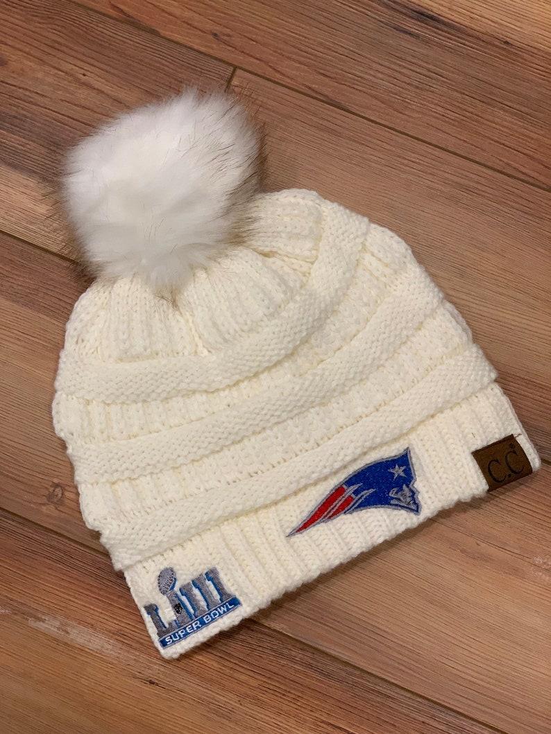 982c2110 New England Patriots Super Bowl Champs CC knitted Pom Pom Hat , winter hat,  Patriots Winter Hat
