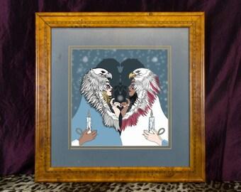 King Of Birds in Art Deco Frame