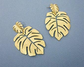 0aec8a860 Monstera earrings Tropical plant Leaf earring Nature inspired floral leaves  Post earrings