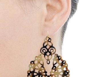 Acetate Resin Floral Filigree Dangle Post Earrings