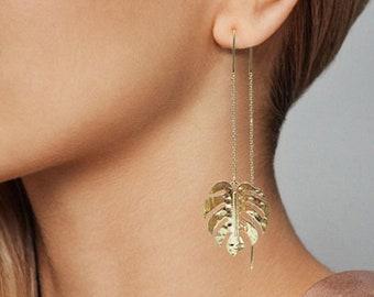 Monstera earrings Tropical plant Leaf earring Nature inspired floral leaves Long drop earrings