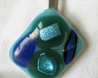 pendant necklace , fused glass, original, unique, turquoise