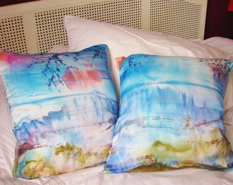 Cushion cover, silk, hand painted, sunset