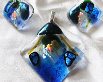 earring & pendant gift set, fused glass, original, one off