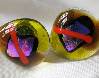 earrings - one off, unique, hand made, fused glass