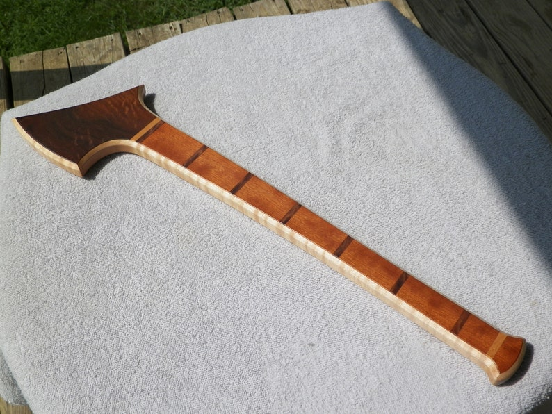 curly maple hand axe with walnut burl and cherry veneer