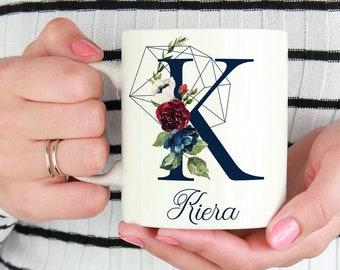 Initial K-T | Personalized Initial Mug | Custom Coffee Mug | Best Friends Monogram Mugs | Gift For Coffee Lovers | Custom Floral Mug |