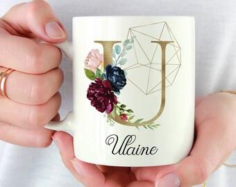 Initial U-Z | Gold | Personalized Initial Mug | Custom Coffee Mug | Best Friends Monogram Mugs | Gift For Coffee Lovers | Custom Floral Mug