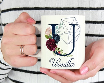 Initial T - Z | Personalized Initial Mug | Custom Coffee Mug | Best Friends Monogram Mugs | Gift For Coffee Lovers | Custom Floral Mug
