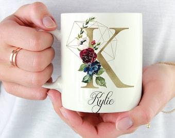 Initial K-T | Gold | Personalized Initial Mug | Custom Coffee Mug | Best Friends Monogram Mugs | Gift For Coffee Lovers | Custom Floral Mug