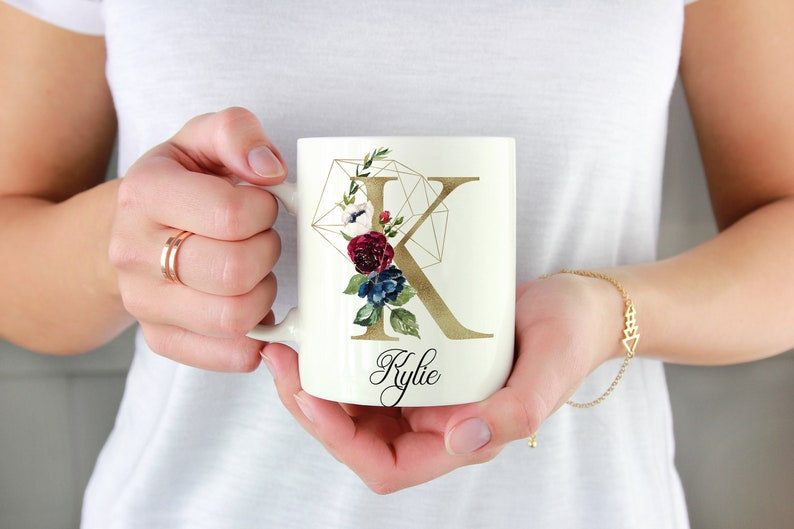 Initial K-T  Gold  Personalized Initial Mug  Custom Coffee Floral Gold K