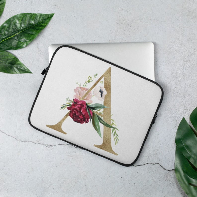 Initial Floral Laptop Sleeve  Floral Gold Case  Gift For Him image 0