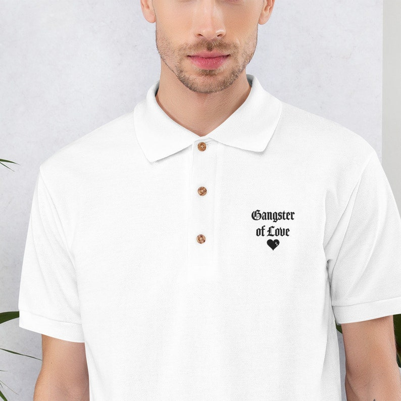 Gangster Of Love  Embroidered Polo Shirt  Valentines Day Tee image 0