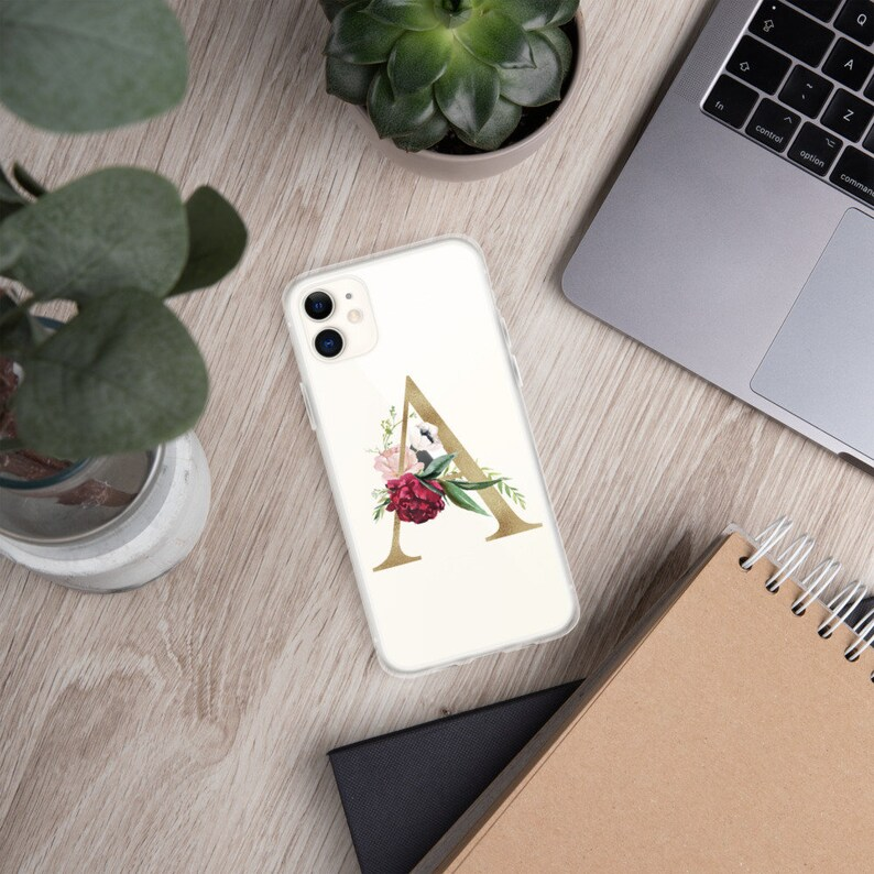 Gold Floral Initial iPhone Case  Gift For Him  Gift For Her image 0