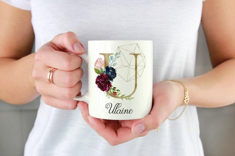 Initial U-Z  Gold  Personalized Initial Mug  Custom Coffee Gold Floral U