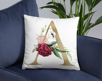 Initial Floral Pillow - A-Z Pillow - Gift For Him - Gift For Her - Birthday Gift Idea Anniversary Gift Idea  Any Letter Personalised Pillow