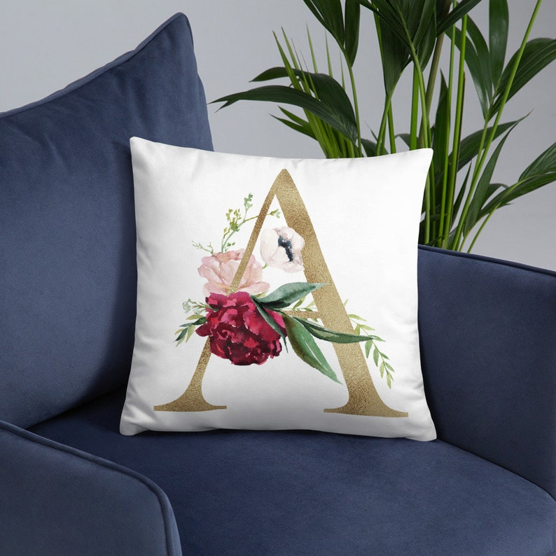 Initial Floral Pillow  A-Z Pillow  Gift For Him  Gift For image 0