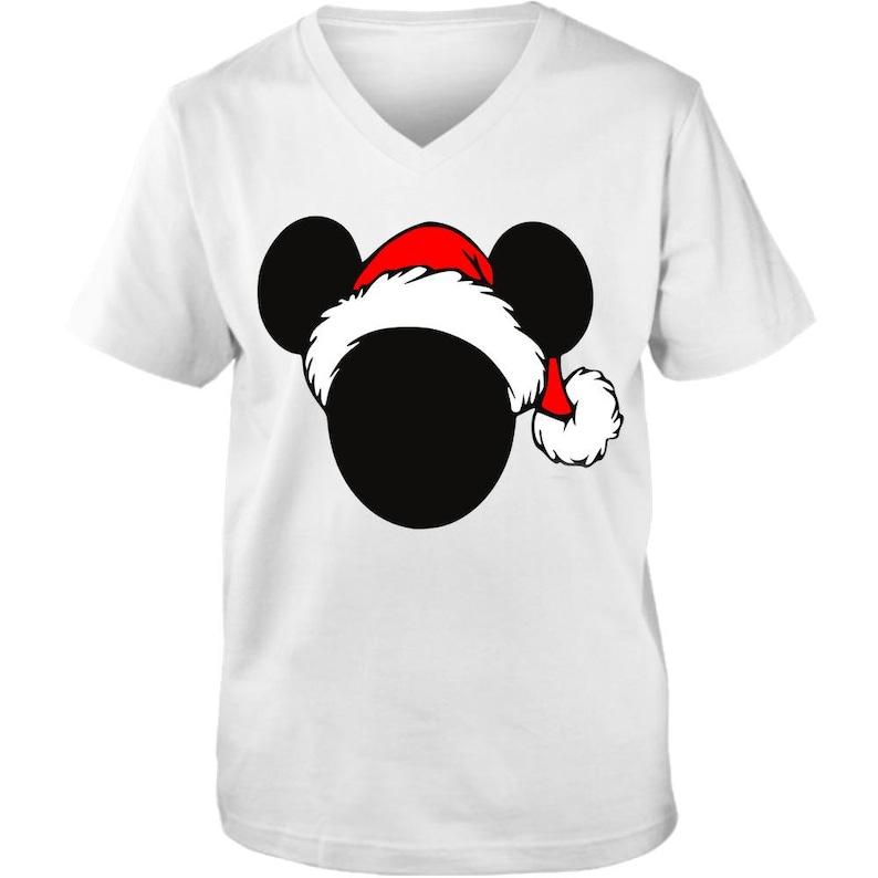 Santa Mickey  Adult Unisex Vneck Tee  Christmas Tee  Love image 0