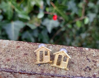 Housewarming House Studs Stay home Irish Ireland New home Gift Cottage Irish Cute Brass earrings Home