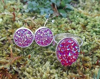 Rose Gold Blue Sparkle Stud earrings set Dublin Ireland Pink Iridescent Turquiose Set of three earrings Druzy