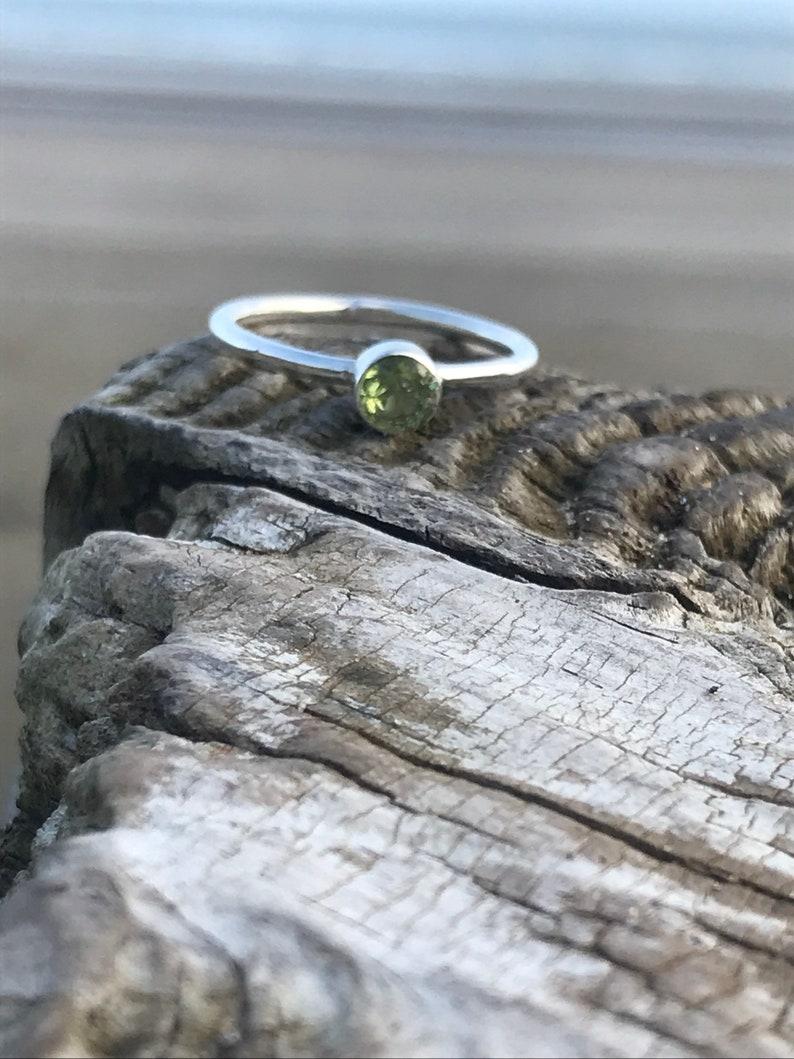 Handmade Irish design Stacking ring Adjustable Ring Dainty Ring Silver ring Peridot ring 925 silver
