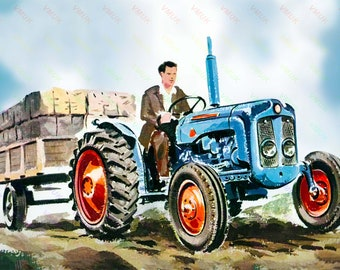 A3 Fordson Dexta Tractor Cut-A-way Agriculture Wall Poster Brochure Art Picture
