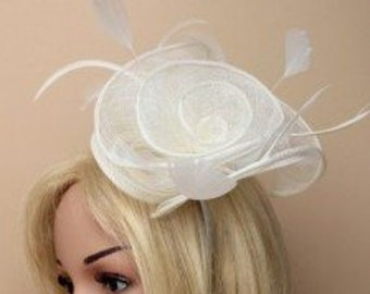 large Cream  flower fascinator, feather fascinator, cocktail hat, derby day hats, church hats, special occasion hat, womans formal hat