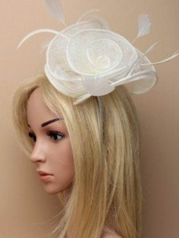 Bridal//Wedding Looped Ribbon Ivory Large Flower Feather Fascinator Hair Comb