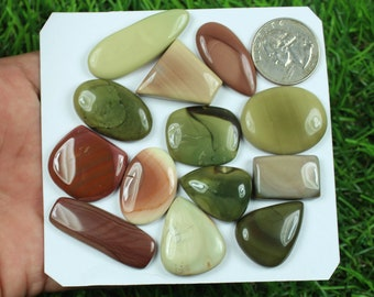 Pair Noreena Jasper Cabochon Gemstone Designer Natural Loose Stone 17X13X4 MM 20.55 Carat