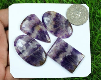126 Carat 37x15 mm African Amethyst Gemstone Chevron Amethyst Purple Amethyst #NG-4061 5 Pieces Jewelry Making Loose Cabochon