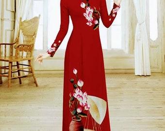 Pre made: Vietnamese dress 3D patterns(ao dai truyen thong nguyen bo)- with pants