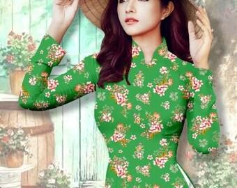 Pre-made: Vietnamese dress (ao dai nguyen bo)- with pants-