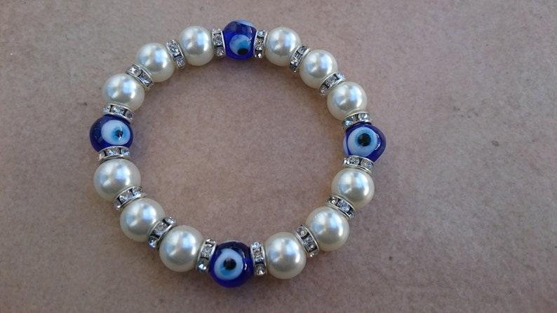 GREEK EVIL EYE Glass 6 or 10mm bead bracelet stretchable hamsa Greece beads Mati royal blue rainbow multi color glass white pearl swarofski