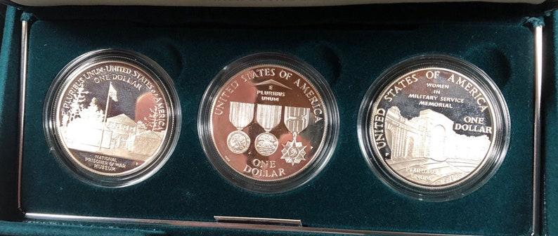 1994 US Veterans 3 Coin UNCIRCULATED Silver Dollar Commemorative Set