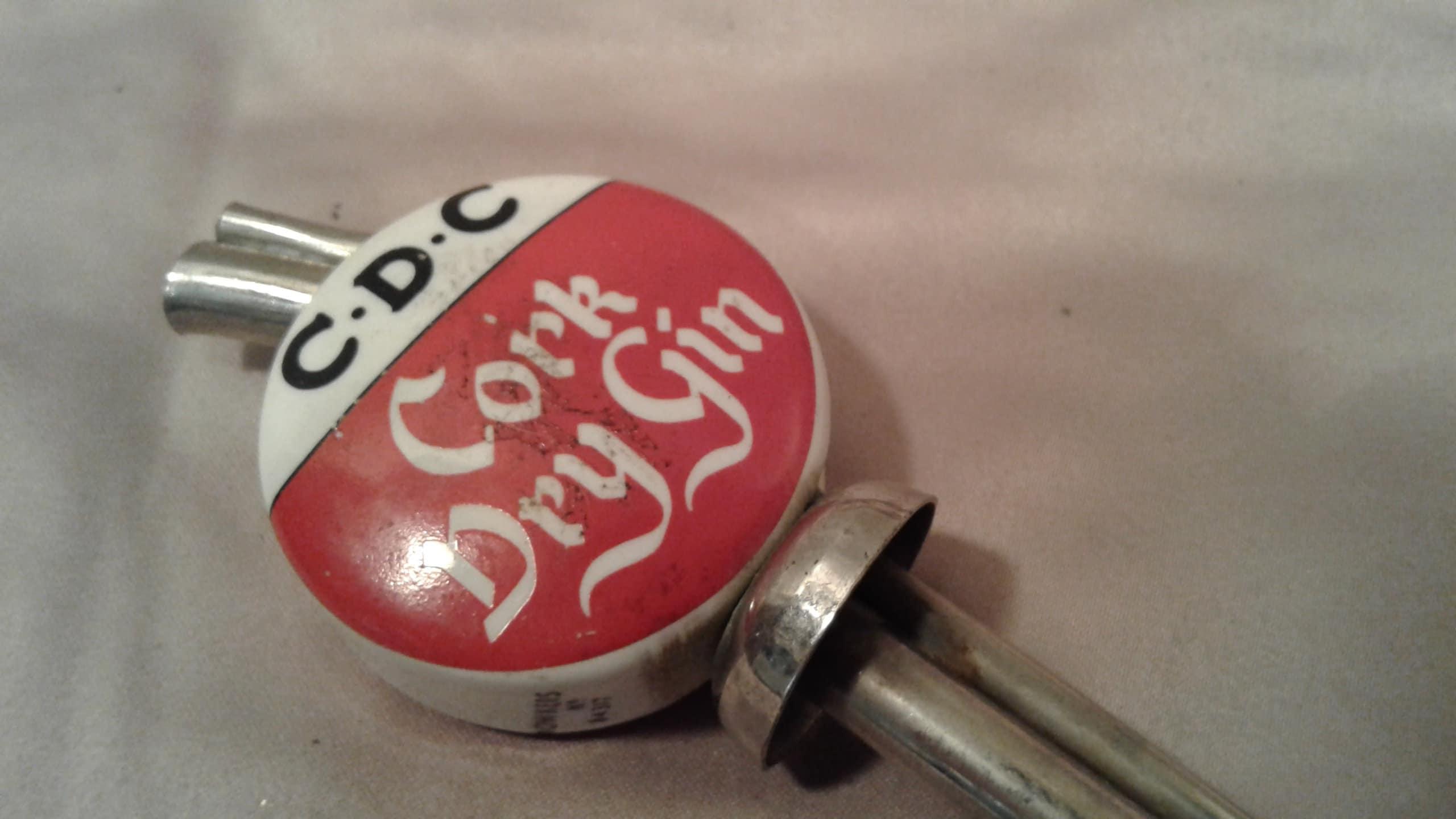 Vintage CDC Corkscrew Dry Gin Pourer Liquor Antique Porcelain Advertising