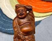 Hand carved Boxwood Happy Buddha, Hotei, happy buddha netsuke, japanese folk art, lucky god, hand carved and polished boxwood happy buddha