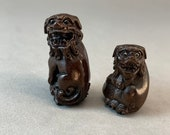 2 Teakwood Ojime of japanese mythical animal, Fu dog, ironwood temple lion, hand carved fu dog ojime, temple lion netsuke