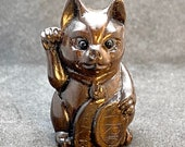 1 Hand carved teakwood ojime Maneki Neko, ironwood money cat to bring good luck to the owner, cat ojime, signed by artist