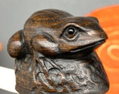 Hand carved teakwood netsuke of frog, ironwood netsuke frog, represents good fortune and vitality, signed by artist