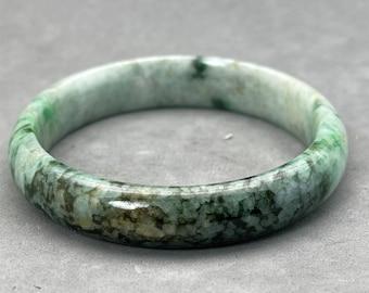 Translucent Natural Apple Green Black Jadeite Jade Vintage Bangle Bracelet 53.2MM SALE