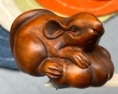 Hand carved Boxwood mouse, represents harvest and wealthy, mouse netsuke, mouse charm