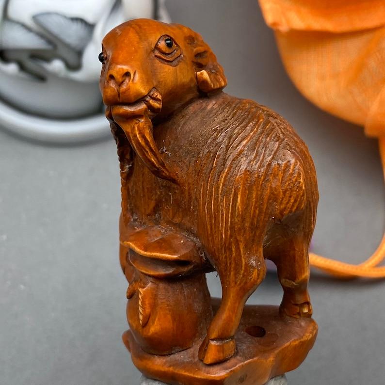 Hand carved boxwood Netsuke of ram boxwood ram charm signed by artist year of the ram ram toggle
