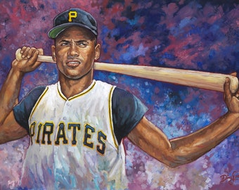 Roberto, (The Great One) - Robert Clemente Pittsburgh Painting Original/Giclée/Lithograph