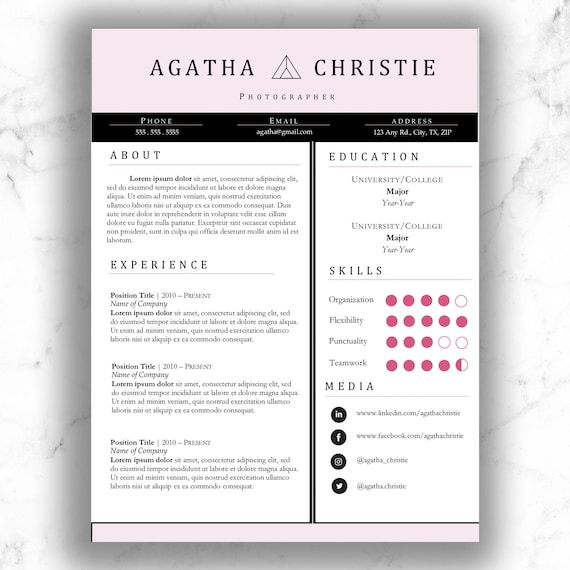 Digital Resume Template Professional Modern Creative Resume Bundle Instant Download Cover Letter Cv Template Agatha Christie