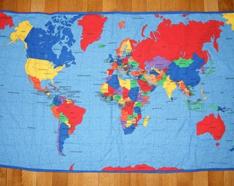 World map blanket etsy world map blanket gumiabroncs Choice Image