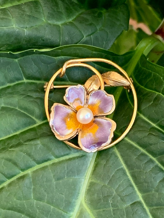 Vintage CREED Enamel Pansy and Pearl Gold Filled … - image 4