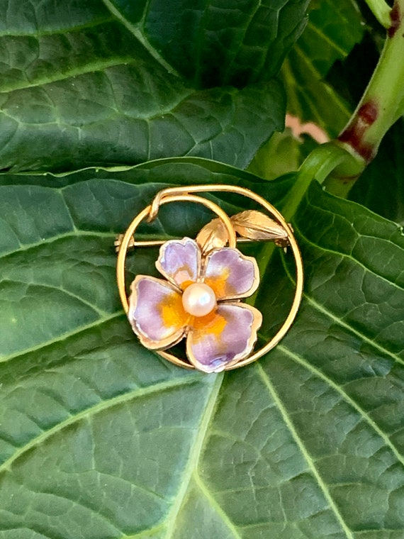 Vintage CREED Enamel Pansy and Pearl Gold Filled … - image 5